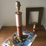 lampe 2 bobines cognac sans abat-jour
