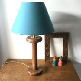 lampe bobine abat jour turquoise