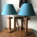 paire de lampes bobines abat jour turquoise