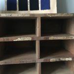 casiers bois brut ancien détail