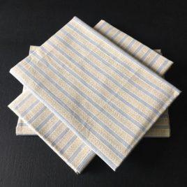 coton beige moucheté rayures bleues