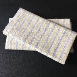 coton beige rayures bleues zoom