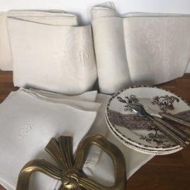 linge ancien nappe et serviettes