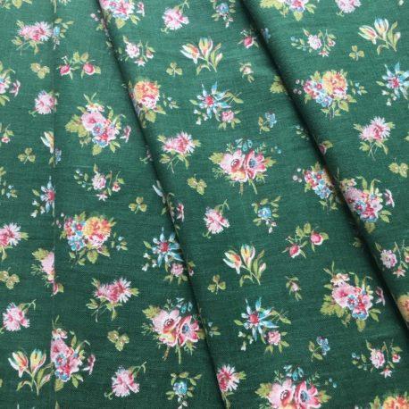 tissu ancien coton fleuri fond vert
