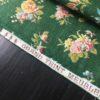 tissu ancien coton fleuri fond vert lisière