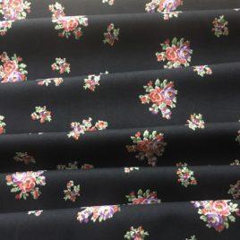 tissu ancien noir fleuri Boussac